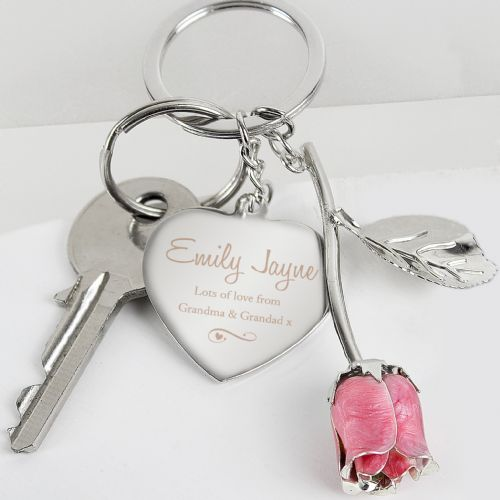 Personalised Pink Rose & Heart Silver Plated Keyring Bag Charm Gift